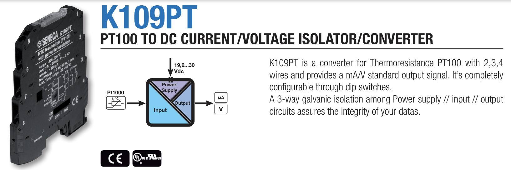 bộ chuyển đổi nhiệt độ Pt100 Seneca K109Pt