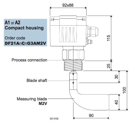 cảm biến báo mức chất rắn dạng cánh xoay mollet Df21 tiêu chuẩn