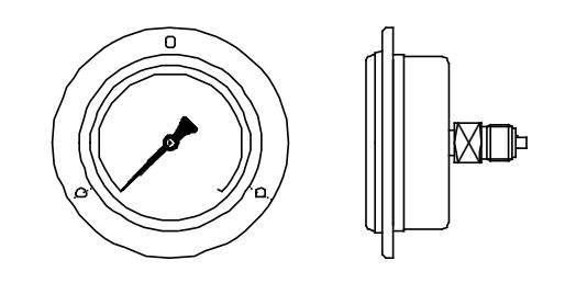 đồng hồ đo áp suất chân sau vị trí 3h có mặt bích
