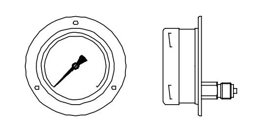 đồng hồ đo áp suất chân sau vị trí 6h có mặt bích