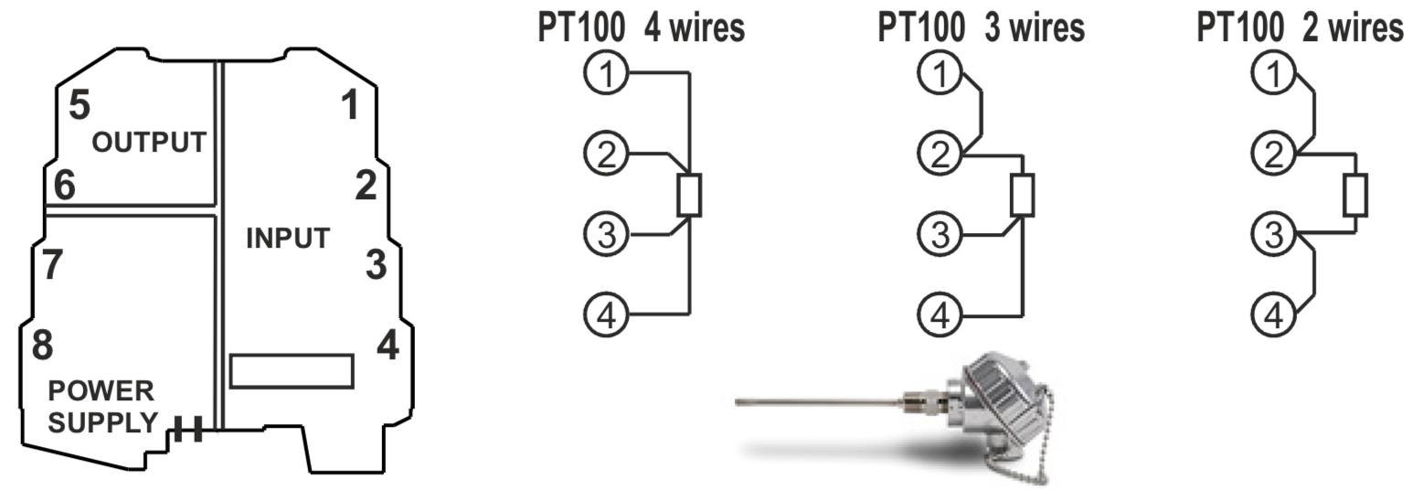 kết nối PT100 với bộ chuyển đổi nhiệt độ K109Pt