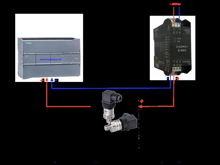 hướng dẩn kết nối cả, biến áp suất với PLC