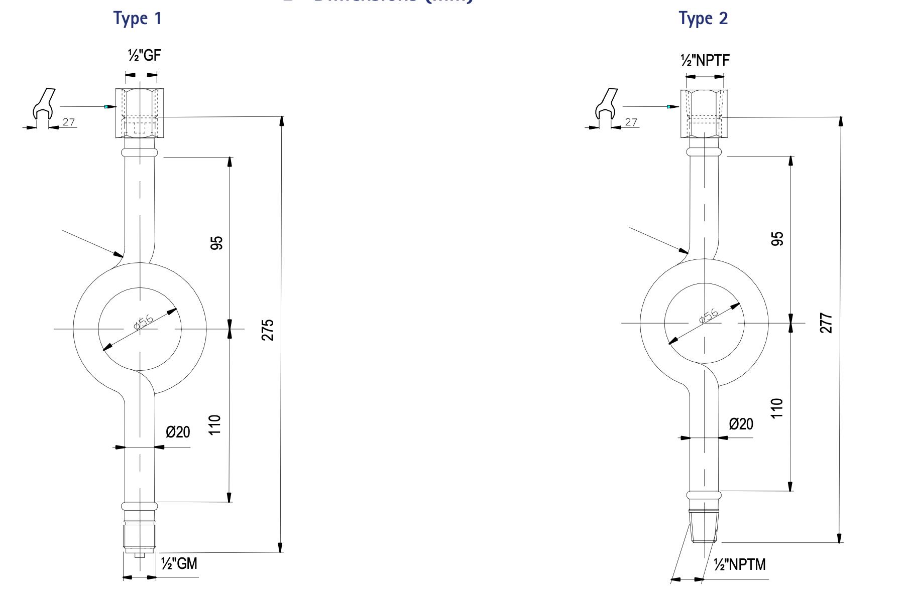 Kích thước ống siphon A3000 - Georgin / Pháp
