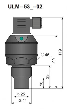 kích thướt cảm biến đo mức siêu âm ULM-53N-02