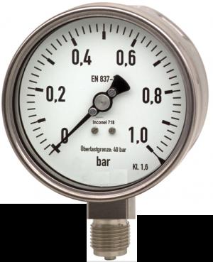 đồng hồ đo áp suất 0-1 bar inox