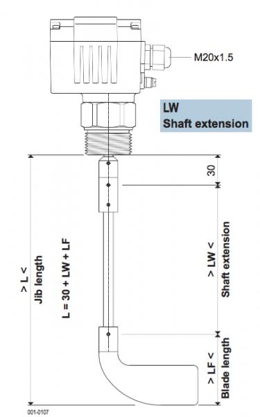 cảm biến báo mức chất rắn dạng cánh xoay mollet Df21 kéo dài