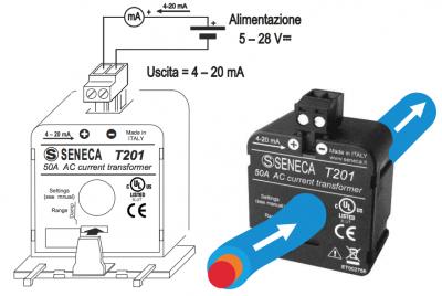 cách lắp đặt CT dòng analog 4-20mA T201 Seneca