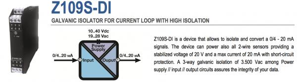 bộ cách ly tín hiệu 4-20mA Z109S-DI Seneca