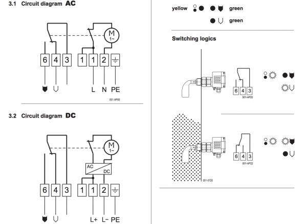 kết nối điện cảm biến báo mức chất rắn dạng xoay Mollet DF23