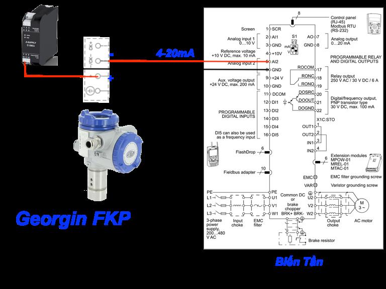 kết nối cảm biến áp suất với biến tần không có nguồn 24Vdc tích hợp