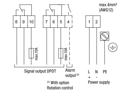 sơ đồ kết nối điện cảm biến báo mức chất rắn loại xoay RN 3001