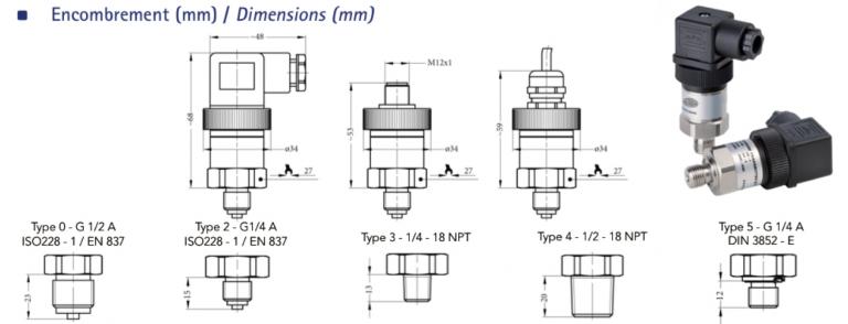 bảng vẽ chi tiết cảm biến áp suất sr1