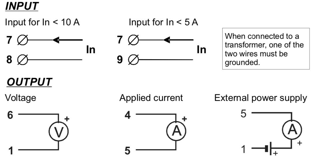 cách đấu dây bộ chuyển đổi tín hiệu 0-5A,0-10A