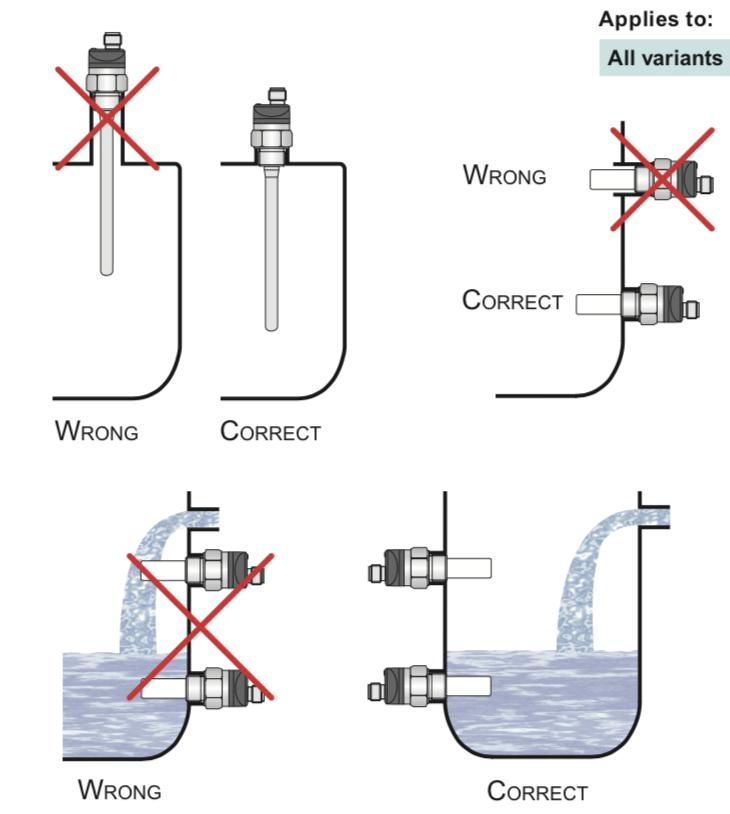 cách lắp đặt cảm biến đo mức nước chiller