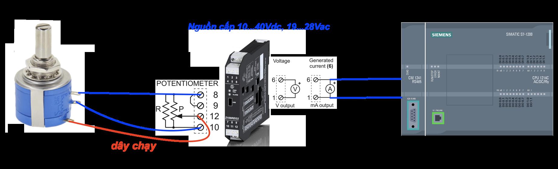 biến trở dùng để điều chỉnh tín hiệu 4-20mA hoặc 0-10V