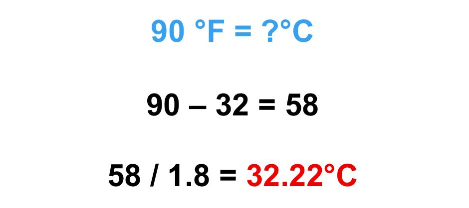 90 độ F bằng bao nhiêu độ C