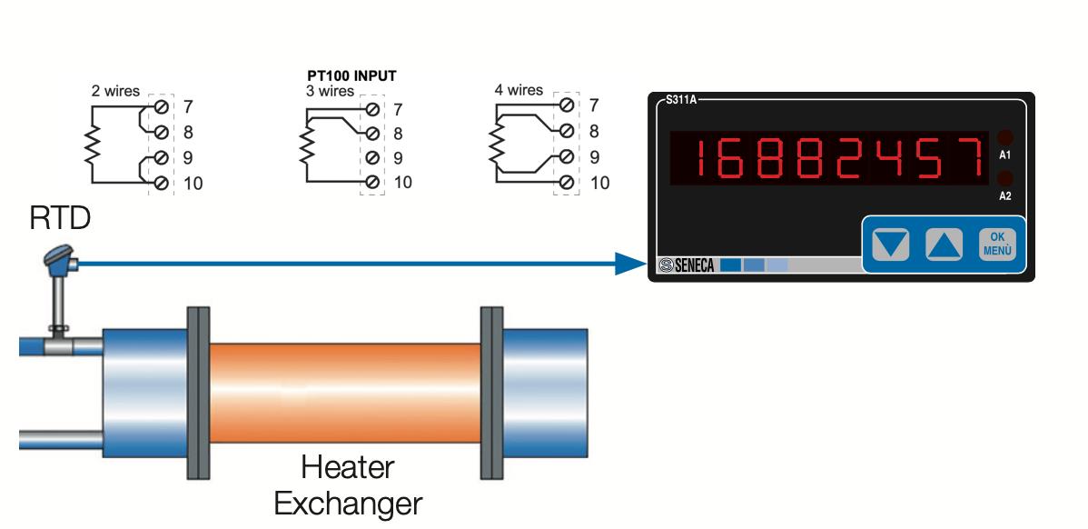 cách đấu dây cảm biến nhiệt độ với màn hình hiển thị