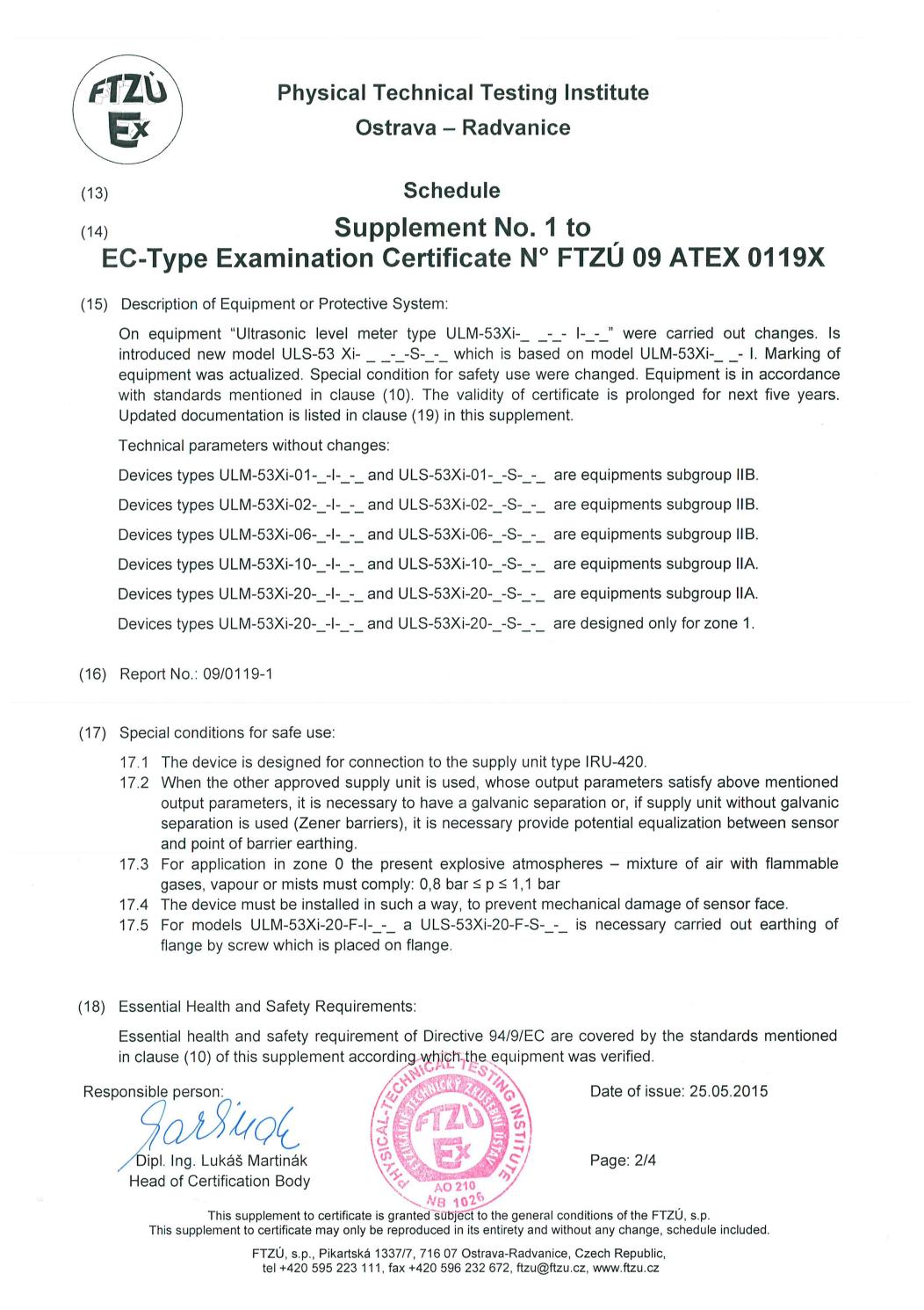 Giấy chứng nhận phòng nổ ATEX ULM-53