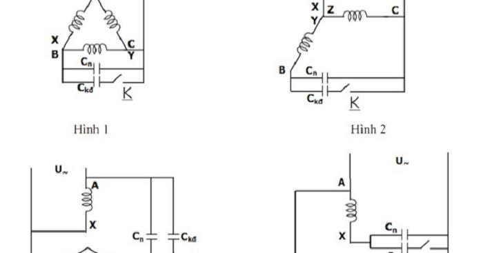4 sơ đồ về nguyên lý chuyển từ cách đấu motor 3 pha sang 1 pha