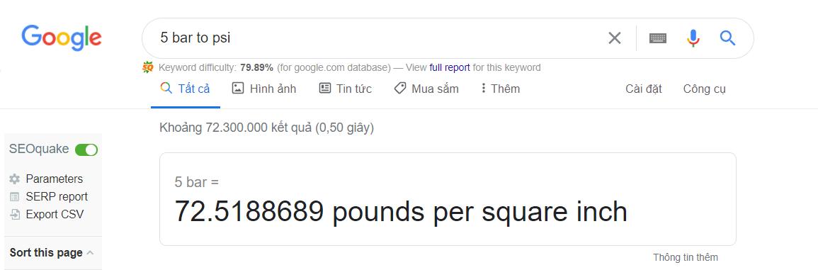 Chuyển đổi MPa thông qua Google