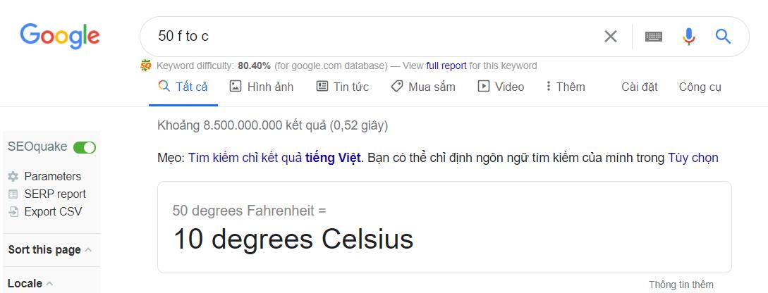 Kết quả chuyển đổi thông qua Google