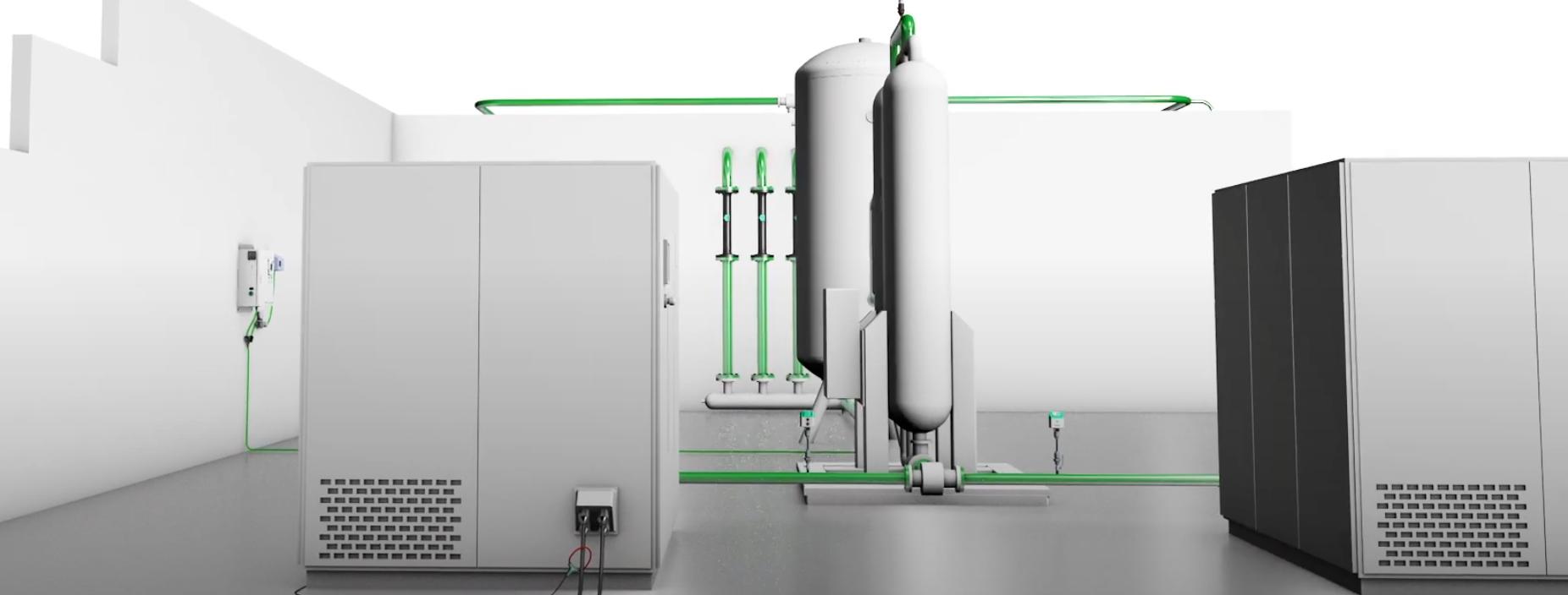 Hệ thống máy nén khí sử dụng đồng hồ đo lưu lượng khí nén VA 520