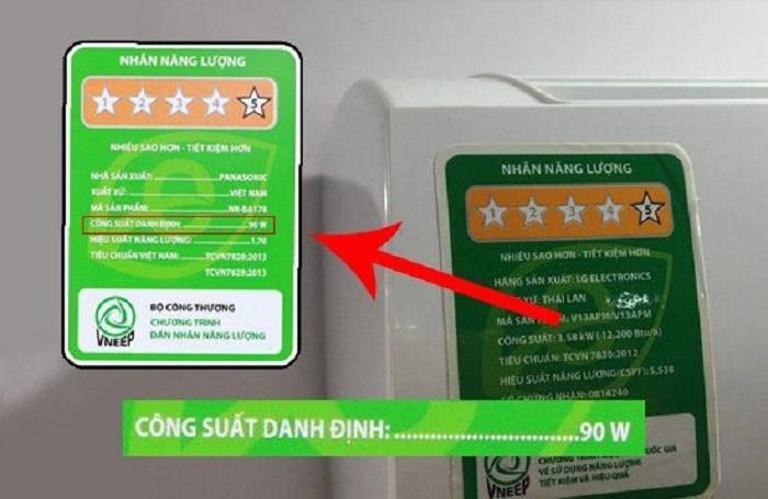 Trên các thiết bị điện đều ghi trị số công suất điện