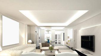 Ánh sáng trắng thích hợp với không gian phòng khách