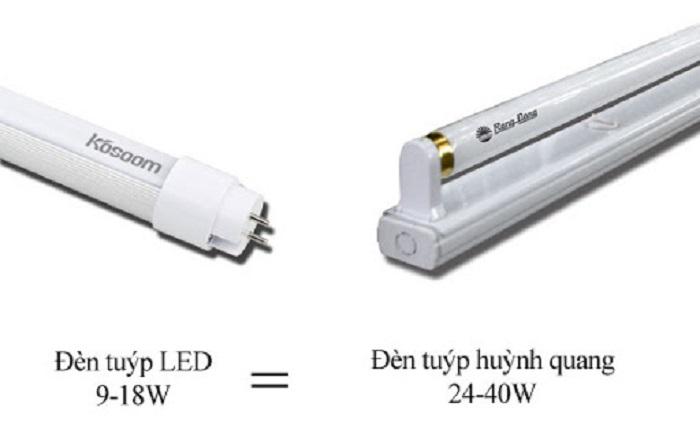 So sánh giữa đèn tuýp led và bóng đèn huỳnh quang